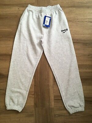 "Vintage 1990s Reebok Tracksuit Bottoms Grey Cotton Track Pants Youths 26"" BNWT"