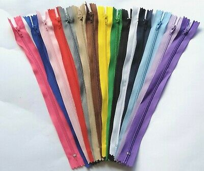 15x Brand New Nylon Zippers 25cm Closed End Mixed Colour Sewing Tailor Craft DIY