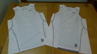 2 Nike Pro Combat Hypercool Dri-fit Fitted white top tanks size L