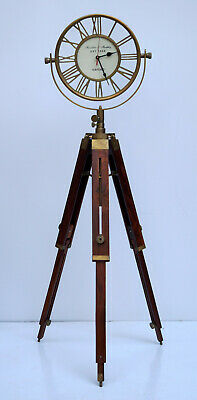 Antique floor clock roman number vintage industrial 3 folding tripod stand gift