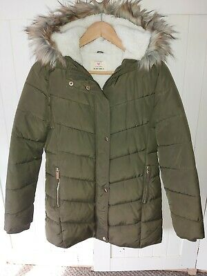 Girls Khaki Green Padded Jacket Fur Lined Coat New Look Fur Hood Age 13-14 Used