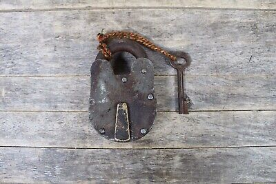 Large Antique Steel & Brass Padlock With Working Key.