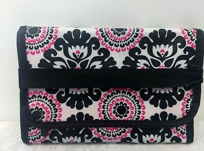 Thirty One 31 Fold it Up Organizer Note Pad Black White Pink Pattern NWOT