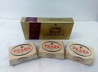 Pears Transparent Glycerin Soap (3) 2.5oz Bars Made in England Vtg NOS