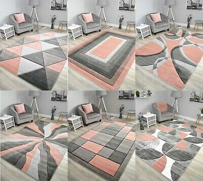 Blush Rose Pink Grey Floor Rug Small Extra Large Sizes Thick Soft Pile Mat Cheap
