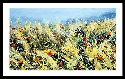 Wind Blown Poppies (Modern Abstract Flowers Windy Season Fine Art Decor Framed)