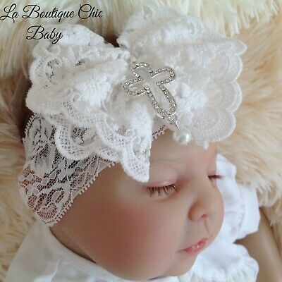 Baby Girl Off White Lace Bow & Cross Headband Weddng Flower Christening Baptism