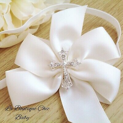 Baby Ivory Satin Bow Headband Crystal Cross Christening Baptism Party Flowergirl