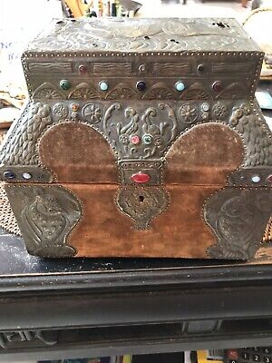 Antique French Art Nouveau Repoussed Copper Wood Casket Box Alfred Daguet 1910