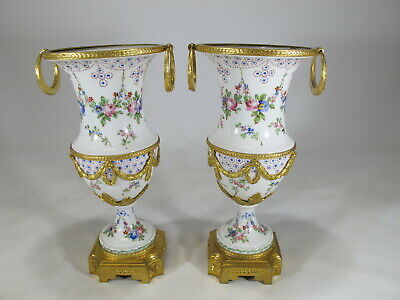 Antique French Sevres pair of gilt bronze & porcelain urns # AR72