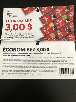 5x tim hortons k-cups (2x12 Pods) 3$ Off Coupons