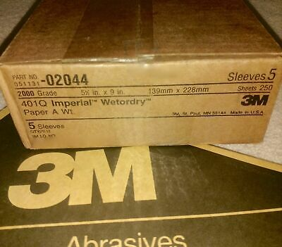 """3M 02044 Imperial Wetordry 5-1/2"""" X 9"""" 2000A sand paper 250pc (5x50) Sheet packs"""