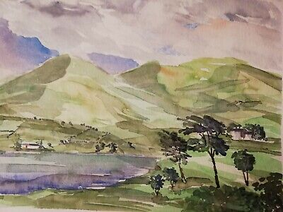 The Langdale Pikes Lake District Watercolour Painting - Signed By Daniel Nichols