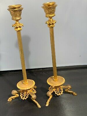 French bronze Gilded Candlestick Singed By ferdinand barbedienne 1810-1892