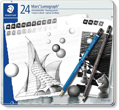 Staedtler Mars Lumograph Drawing and Sketching Pencils 24 pc G24 S New!
