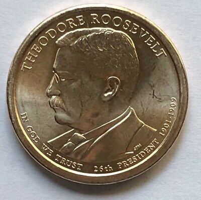 2013  Theodore Roosevelt Golden Presidential Dollar Circulated
