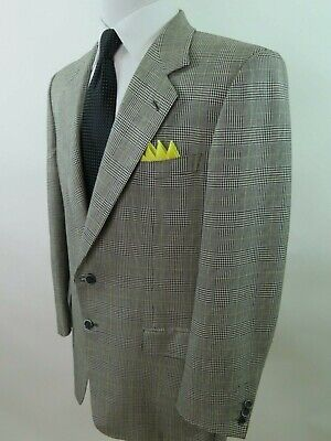 Brioni Roma Men Silk Wool Black Glen Plaid Italian Blazer Jacket Sport Coat 42 S