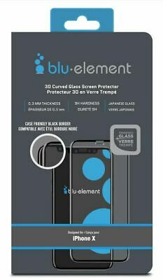 Blu Element 3D Curved Glass Case Friendly Black for iPhone XS/X Screen