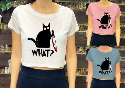 Halloween Cat With Knife What Print Murderous  Funny Womens Girls Kids Crop Top