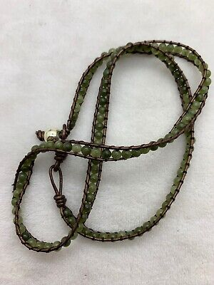 Deep Green Natural Fine Jade Bead Hand Woven Necklace 22""