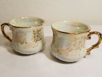 2 Fresh China Porcelian Tea Cups Pearlized White with Gold Trim made in Japan