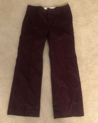 NEW! Gap Womens Modern Fit STRAIGHT BURGUNDY Stretch Corduroy PANTS SZ 8A