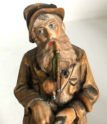 """Man Smoking Pipe Hand Carved Wooden Figurine Wood Carving 5"""" Vtg"""