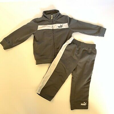 Baby Boy Toddler 18 Month Puma Track Suit Set Zip Up Jacket Pant Gray White
