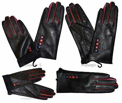 Leather gloves. Woman's winter Leather Dress Gloves Black Warm Gloves BN