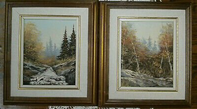 """Original Oil on Canvas Paintings Lot of 2, Signed, Fall, Forest, River, 13.5""""x15"""