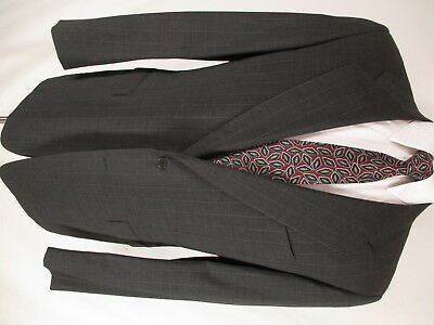 Pal Zileri Mens Charcoal Stripe 2 Btn Cerruti 1881 S120s Suit 42R Italy Made