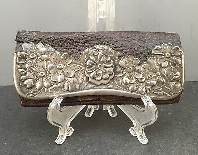 English 19C Sterling Silver & Leather 5 Compartment Purse