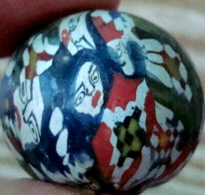 Ancient Phoenician Roman Multi-Color Face Mosaic Glass Round Bead Pendant 677
