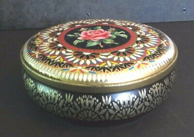 VINTAGE Floral ROSE Embossed Tin Container Made in England