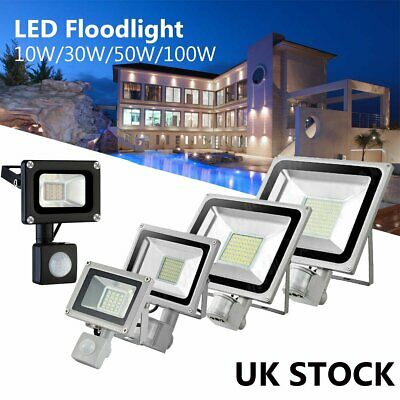 LED Floodlight PIR Sensor Motion 10/20/30/50/100W Security Flood Light Cool Warm