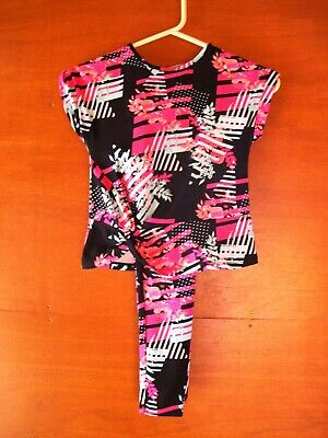 Tu Black & Floral Top & Leggings Size 8 Years Old - Selling For Charity