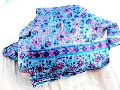 "INDIAN 100/% PURE SILK HANDMADE SQUARE MULTI-COLOURED FLORAL SCARF 21/""x 21/"" £6.95"