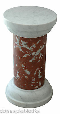 Column Marble Red France & White Carrara Table Classic Design Marble Table