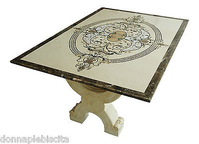 Table with Inlay in Marble Cream Marfil and Pietra Dura Art Inlay Marble Table