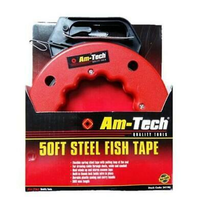 50Ft Steel Fish Tape Draw Thread Pull 15M Cable Wire Access Carry Handle Am-Tec