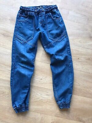 Boys Authentic Denim Jeans Matalan Elasticated Waist Age 10 Years Blue Cuffs vgc