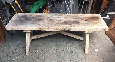 Anitque 19th Century Large Elm Pine Pig Stool Bench Low Wooden Rustic Table