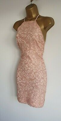 Pretty little Thing BNWOT Nude Pink Sexy Backless Lace Bodycon Mini Dress 8