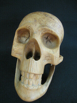 Hand Carved Wood Sculpture Human Size Skull - Photo, Hat or Mystery Book Prop