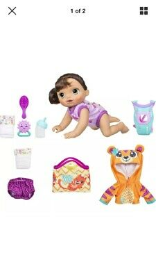 Baby Alive Baby Go Bye Bye Brunette Doll Plus Bonus Outfit, Diaper, and Mat