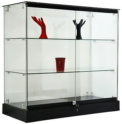 Black Rectangular 36 Inch Tempered Glass Tower Showcase with Locks and Shelves