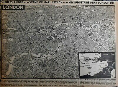 Vintage 1940 Newspaper City Map of London, England World War WWII German Attack!
