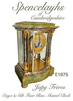 Japy Freres Bow Front Onyx Champleve Enamel Four Glass Library Regulator Clock
