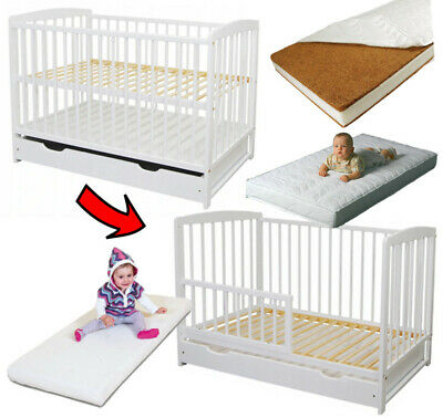 Baby Cot Bed + Drawer + Toddler Safety Barrier + Mattress Optional 120x60cm