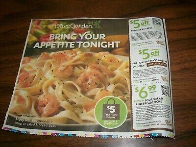 Three Olive Garden Coupons! $5, $5 And $6.99  Expires 4/25/20
